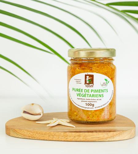 Purée de piment végétarien artisanal . Martinique . bocal 100g